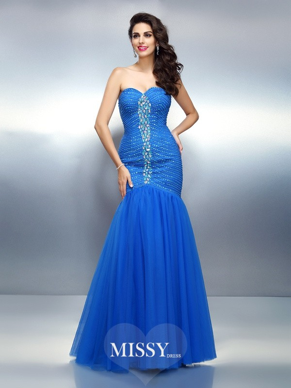 Trumpet/Mermaid Sweetheart Sleeveless Floor-Length Satin Dresses