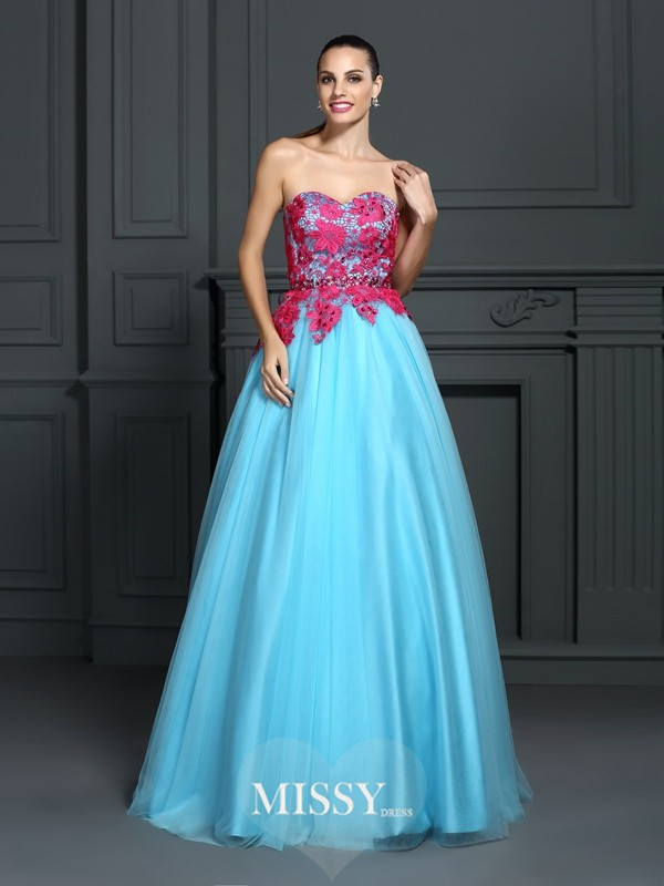 Ball Gown Sweetheart Lace Floor-Length Satin Dresses