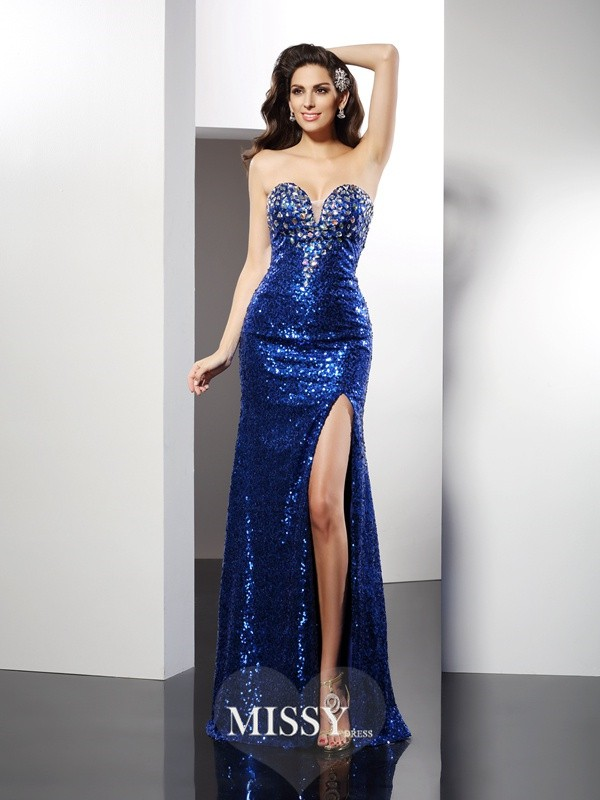 Sheath/Column Sweetheart Sleeveless Sequin Long Sequins Dresses