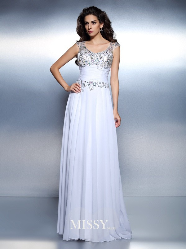A-Line Scoop Sleeveless Beading Rhinestone Sweep/Brush Train Chiffon Dresses