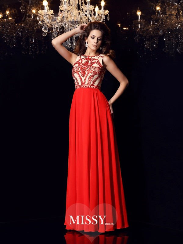 A-Line/Princess Chiffon Scoop Beading Floor-Length Dresses