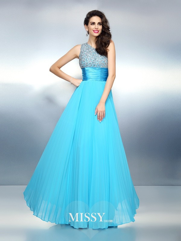 A-Line One-Shoulder Sleeveless Beading Long Chiffon Dress