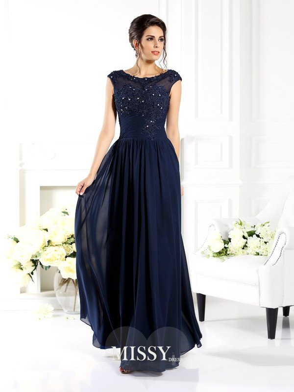 A-Line/Princess Scoop Sleeveless Beading Floor-Length Chiffon Gowns