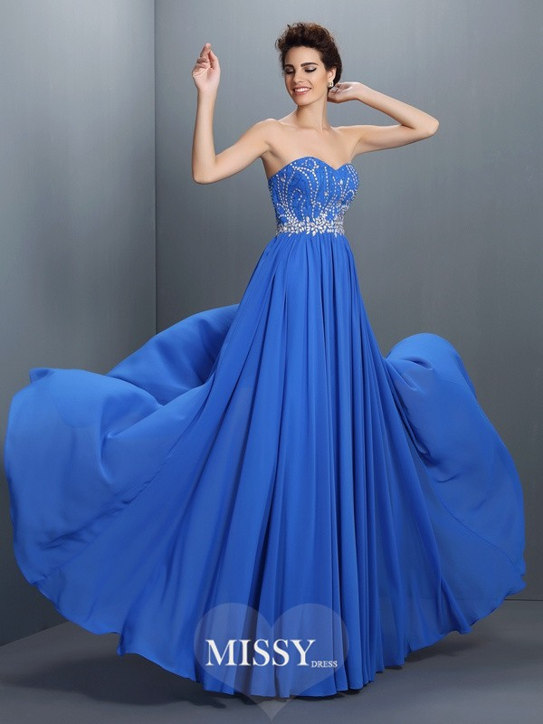Sweetheart Beading Long Chiffon Dresses