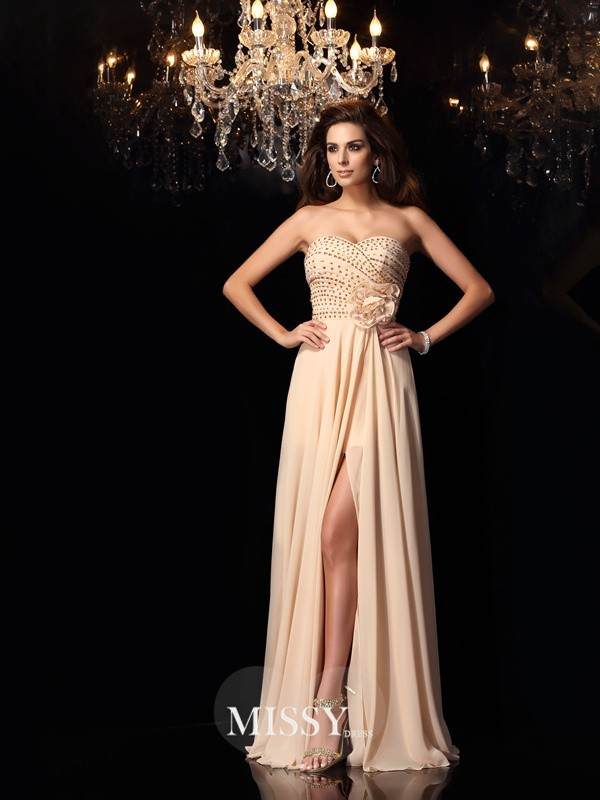 A-Line/Princess Sweetheart Chiffon Floor-Length Hand-Made Flower Dresses