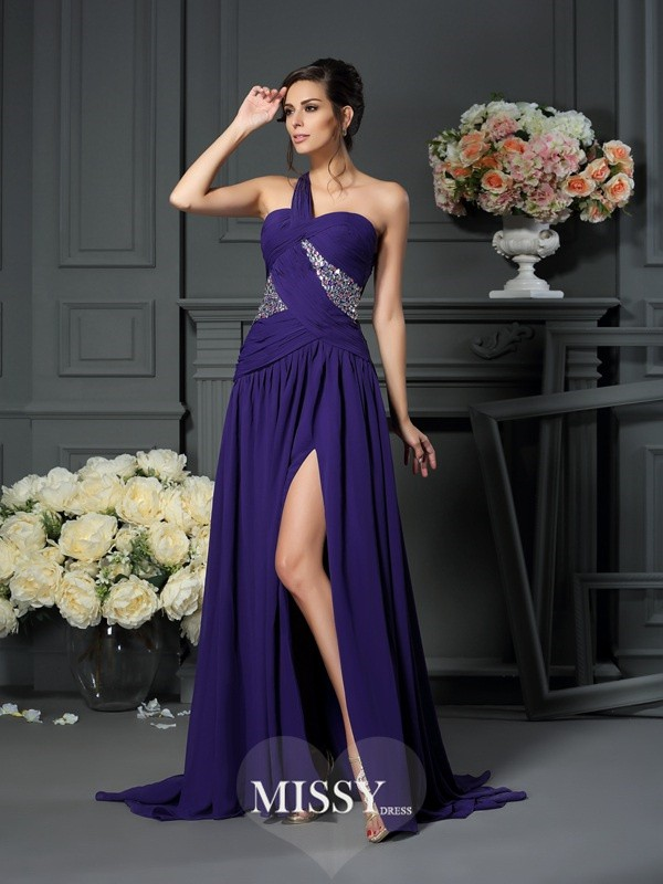 A-Line/Princess One-Shoulder Chiffon Beading Sweep/Brush Train Dresses