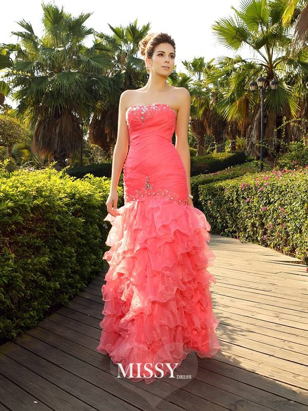 Trumpet/Mermaid Strapless Floor-Length Beading Organza Dresses