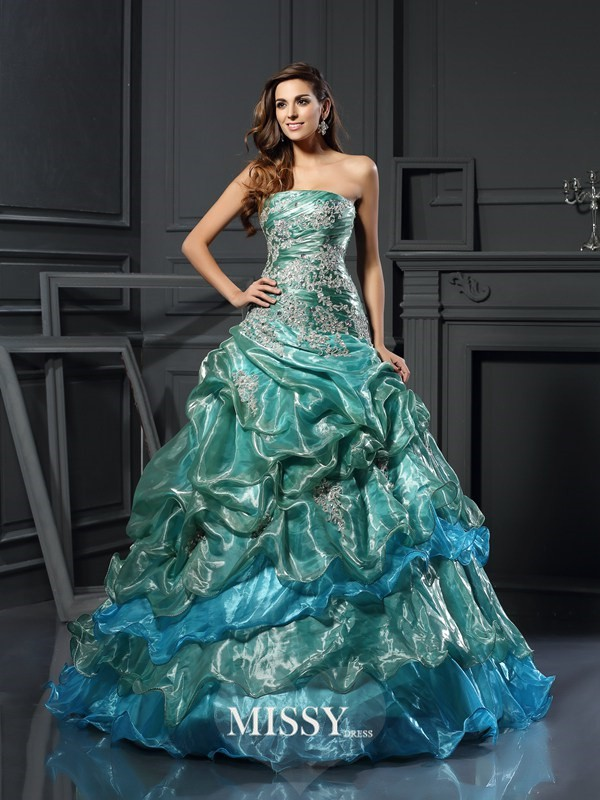 Ball Gown Sweetheart Tulle Applique Floor-Length Dresses