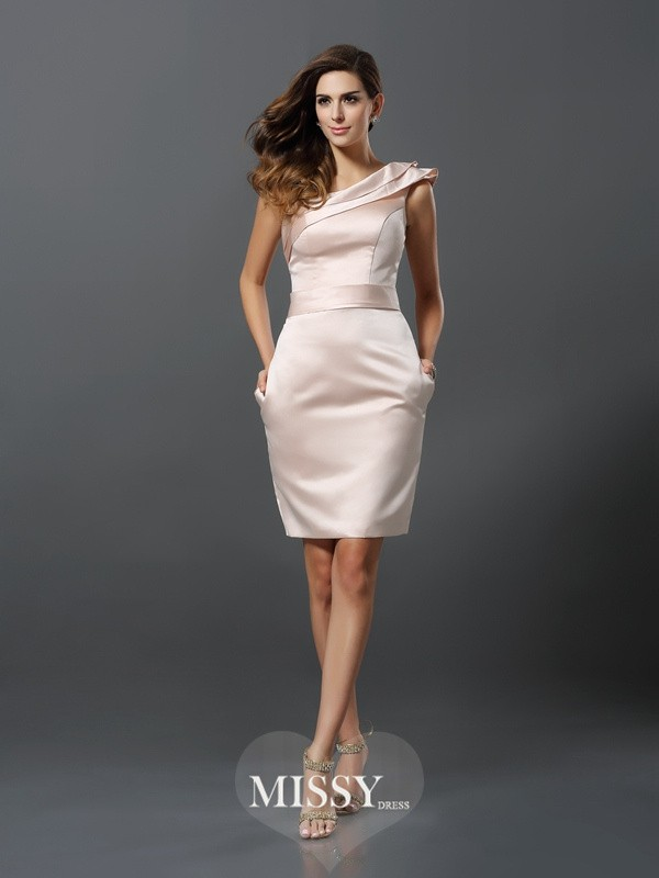 Sheath/Column Sleeveless One-Shoulder Knee-Length Satin Gowns