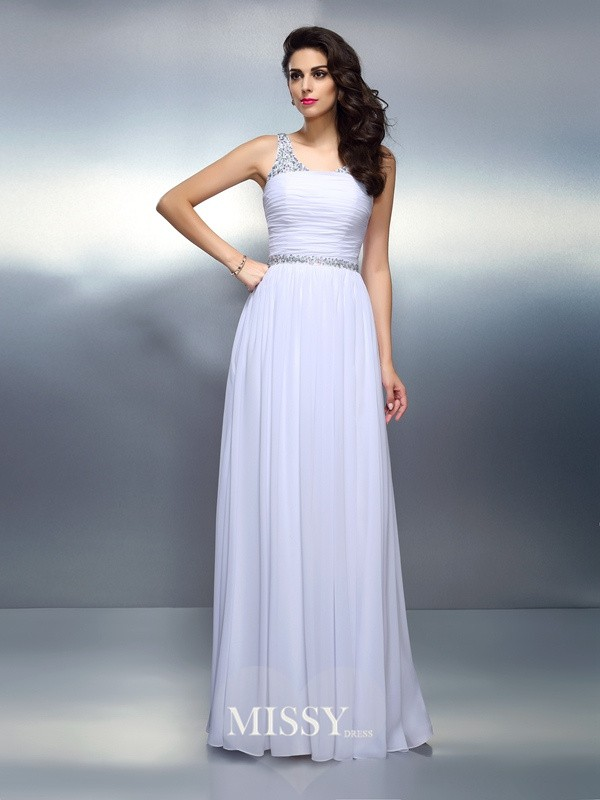 Scoop Princess Sleeveless Floor-Length Chiffon Dresses
