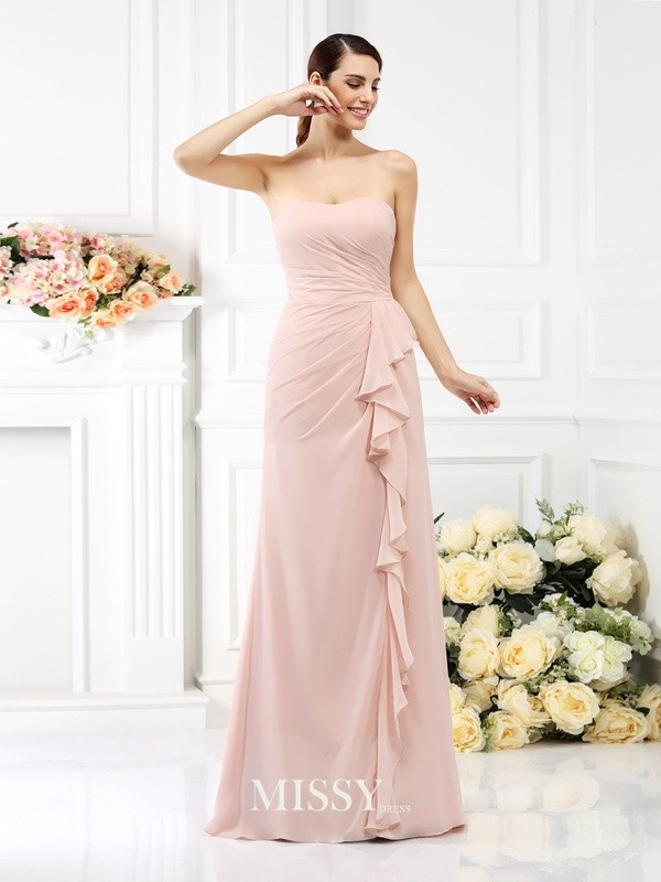 Princess Strapless Sleeveless Pleats Chiffon Bridesmaid Dress