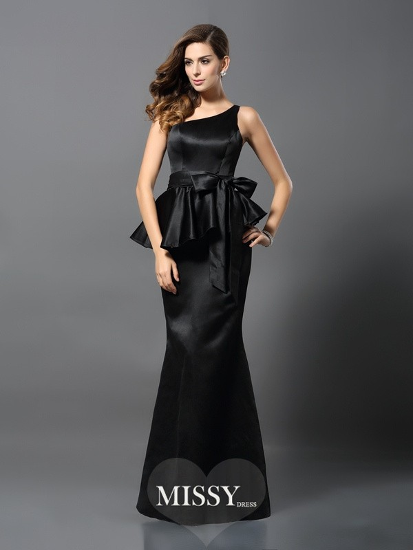 Trumpet/Mermaid One-Shoulder Sleeveless Floor-Length Satin Bowknot Gowns