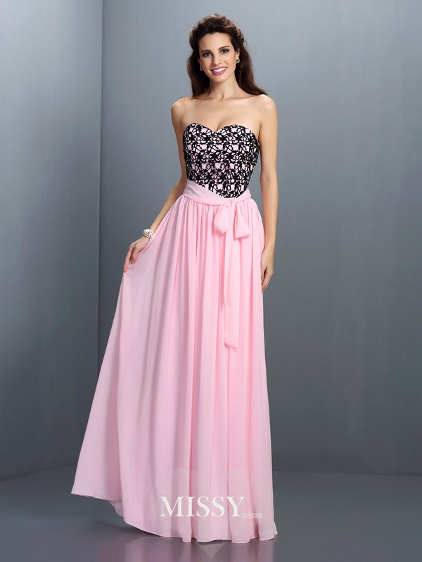 Sweetheart Princess Lace Floor-Length Chiffon Dresses
