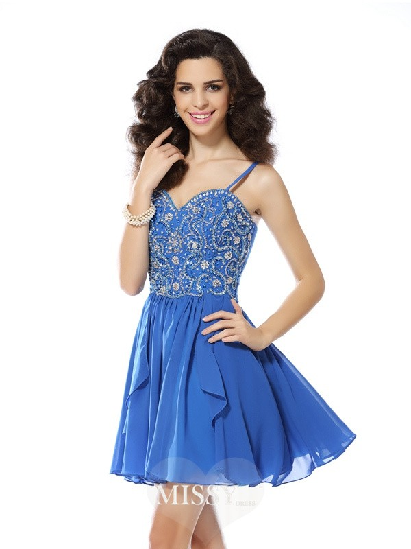 A-Line/Princess Spaghetti Straps Beading Sleeveless Short/Mini Chiffon Gowns