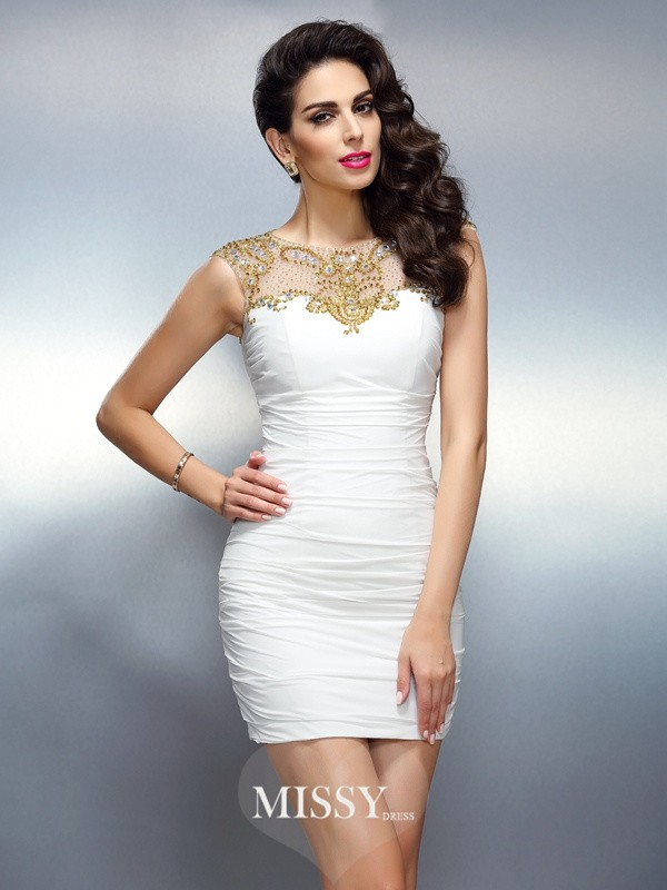Sheath/Column Bateau Beading Sleeveless Short/Mini Chiffon Gowns