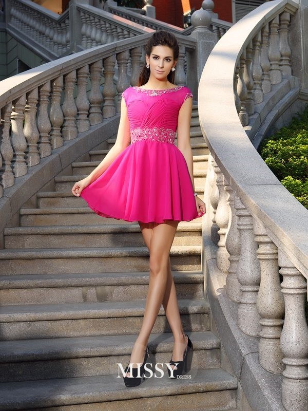 A-Line/Princess Scoop Chiffon Sleeveless Beading Short/Mini Gowns