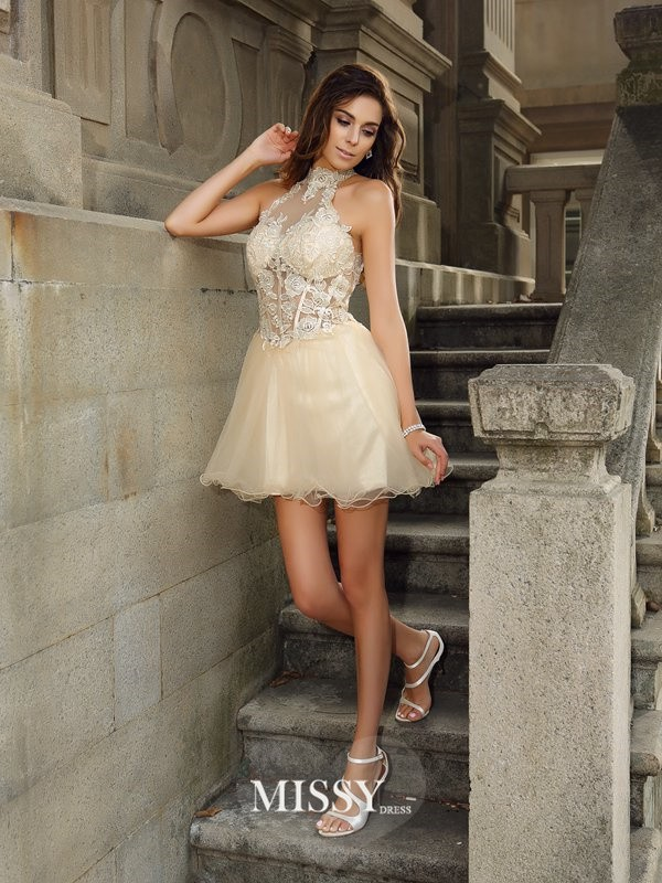 A-Line/Princess High Neck Sleeveless Tulle Short/Mini Ruffles Gowns
