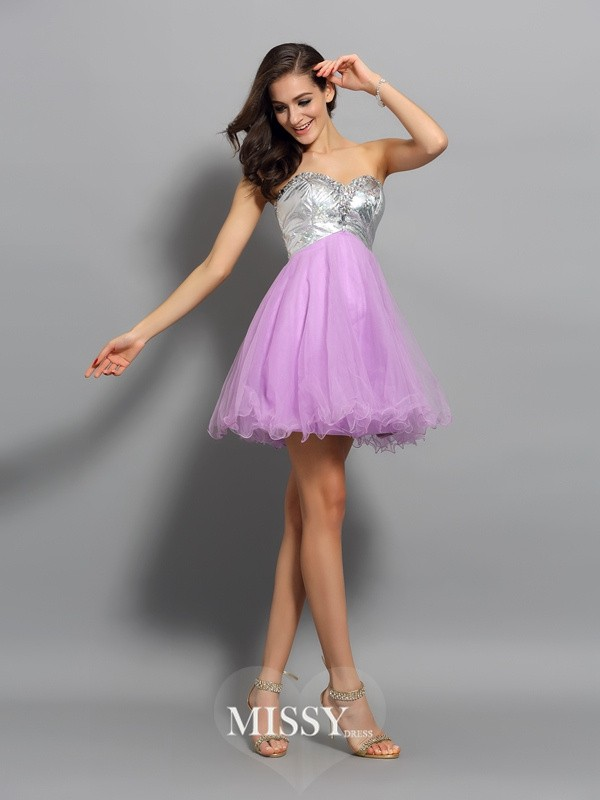 Sweetheart Sleeveless A-Line/Princess Short/Mini Organza Ruffles Gowns
