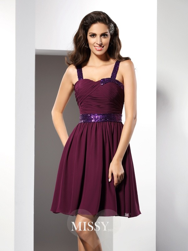 A-Line/Princess Straps Sleeveless Ruched Short/Mini Chiffon Gowns