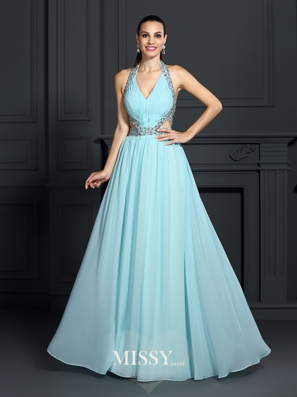 Princess Halter Sleeveless Beading Floor-Length Chiffon Dress