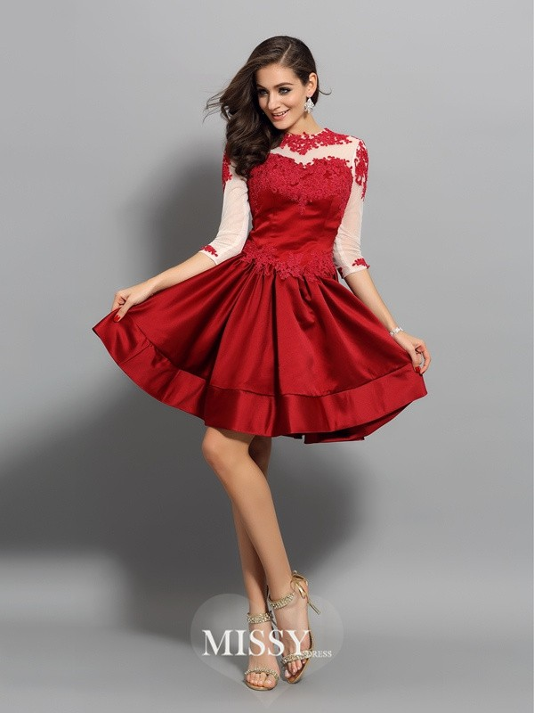 A-Line/Princess High Neck 1/2 Sleeves Satin Short/Mini Applique Gowns