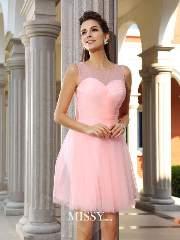 A-Line/Princess Scoop Satin Sleeveless Short/Mini Beading Gowns
