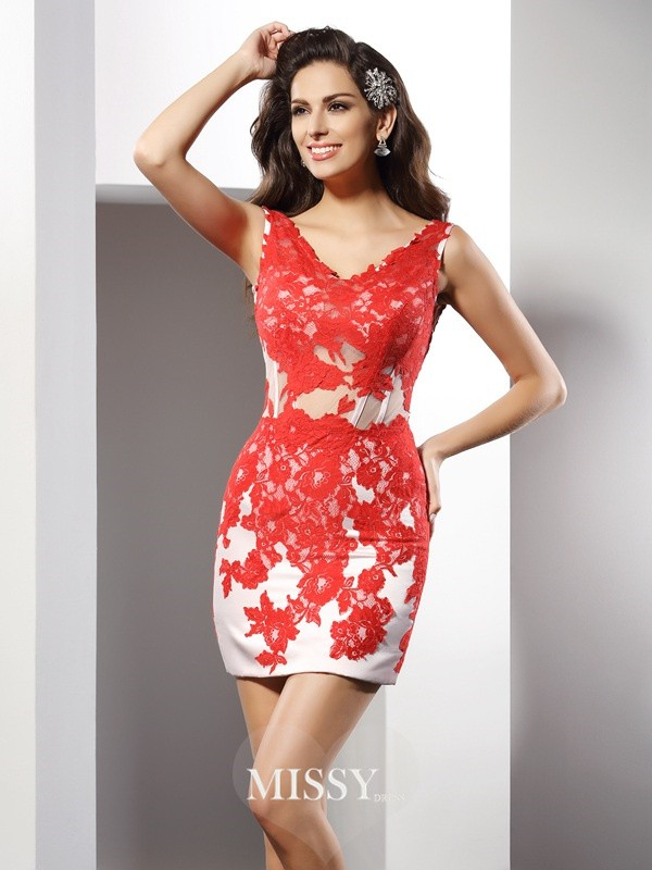 Sheath/Column Sleeveless V-neck Applique Short/Mini Satin Gowns