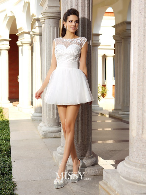 A-Line/Princess Scoop Satin Beading Short/Mini Sleeveless Gowns