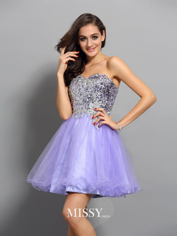A-Line/Princess Sleeveless Net Applique Sweetheart Beading Short/Mini Gowns
