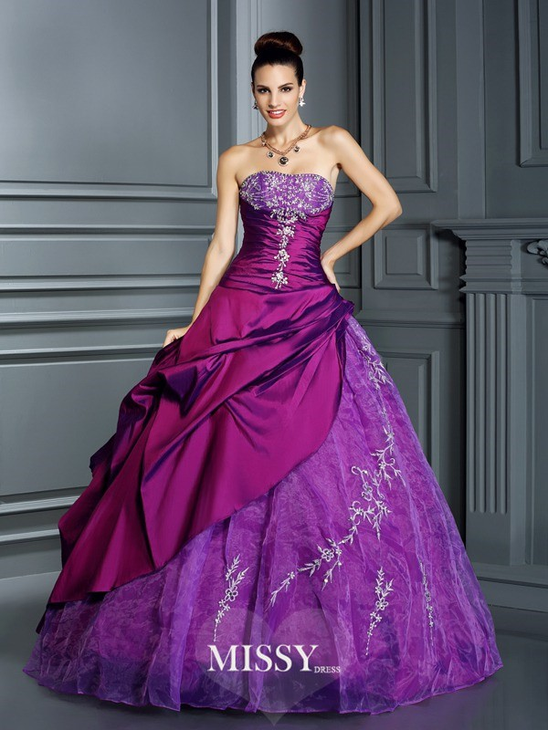Ball Gown Strapless Applique Long Taffeta Quinceanera Dresses