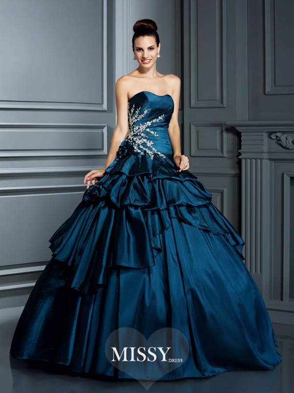 Ball Gown Strapless Beading Floor-Length Taffeta Quinceanera Dresses