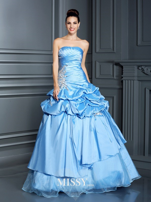 Ball Gown Sweetheart Ruffles Floor-Length Organza Quinceanera Dresses