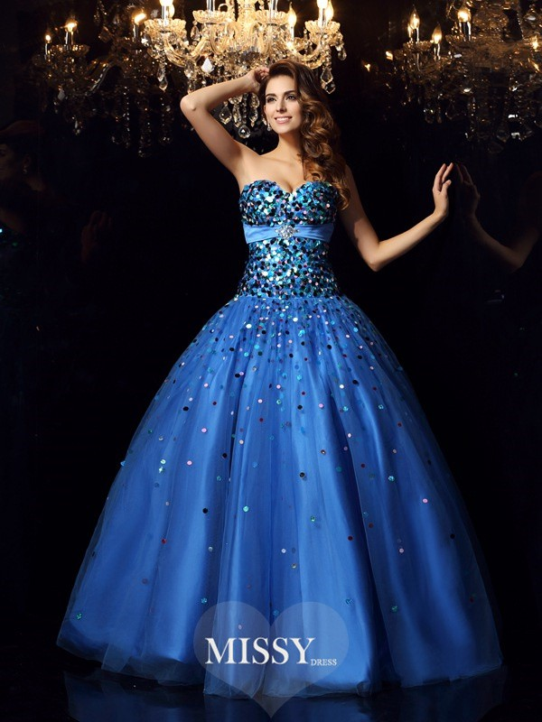 Ball Gown Sweetheart Satin Floor-Length Beading Dress