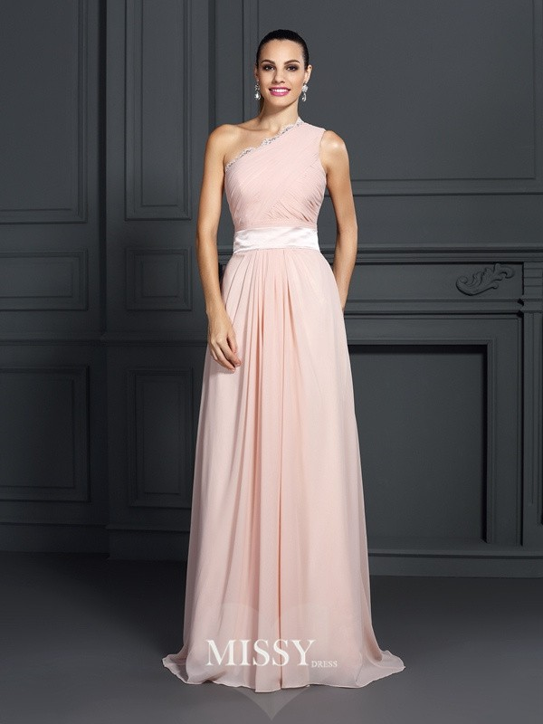 Princess One-Shoulder Sleeveless Ruffles Sweep/Brush Train Chiffon Dresses