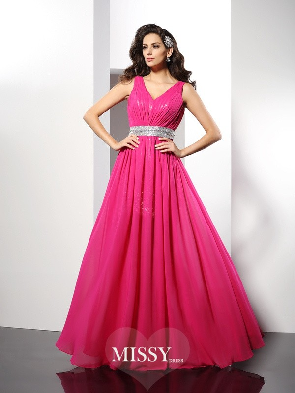 A-Line/Princess V-neck Paillette Sleeveless Floor-Length Chiffon Gowns