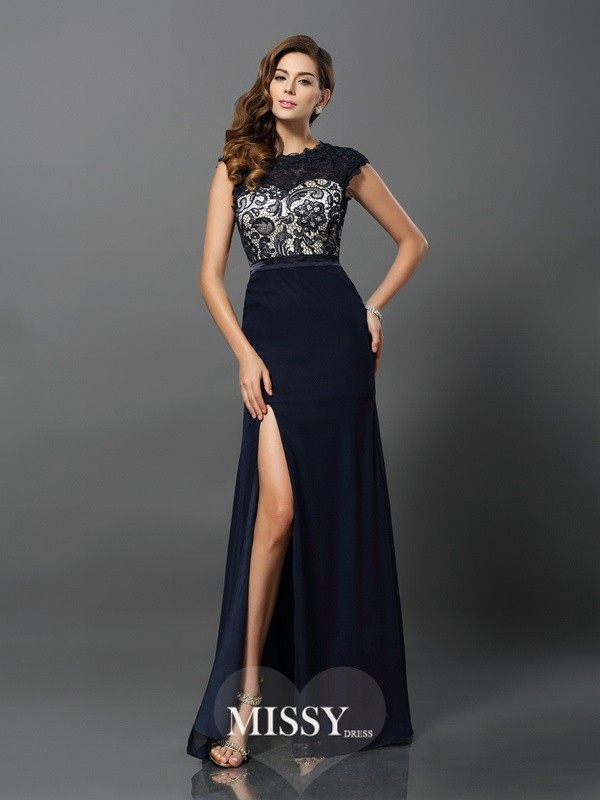 Sheath/Column Short Sleeves Chiffon Jewel Floor-Length Lace Dresses