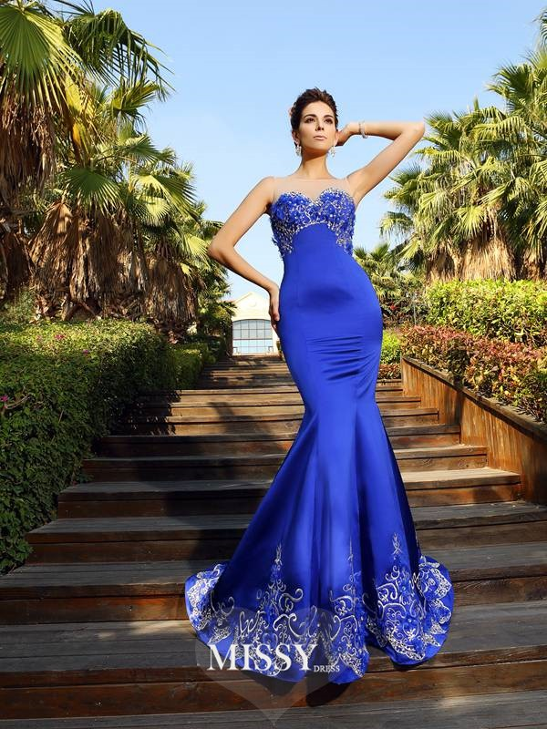 Trumpet/Mermaid Beading Sweetheart Court Train Satin Dresses