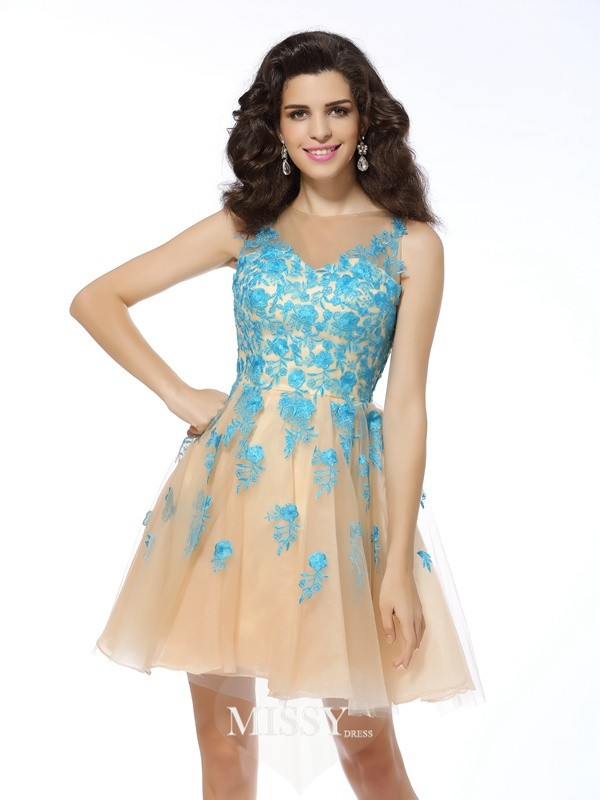 A-Line/Princess Sleeveless Tulle Bateau Applique Short/Mini Gowns