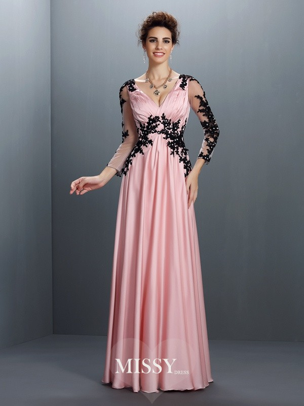 A-Line/Princess V-neck 3/4 Sleeves Applique Floor-Length Chiffon Gowns