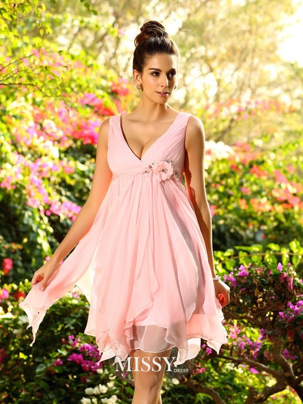 A-Line/Princess V-neck Chiffon Sleeveless Knee-Length Ruffles Bridesmaid Dress