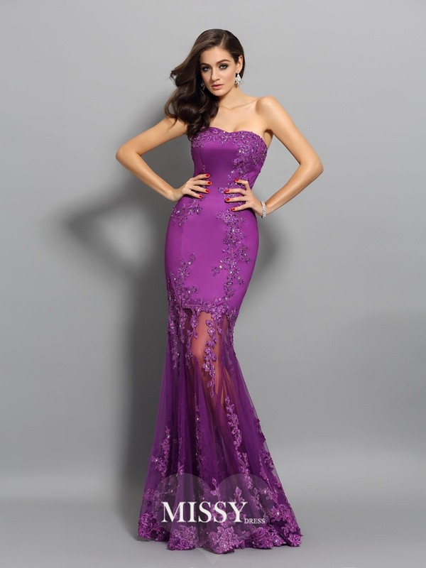 Trumpet/Mermaid Sweetheart Applique Chiffon Beading Floor-Length Dresses