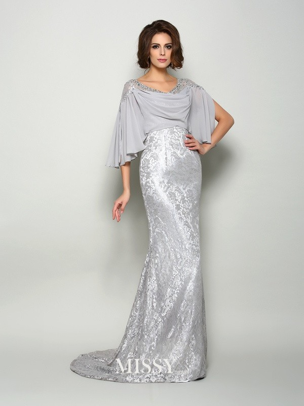Trumpet/Mermaid Scoop 1/2 Sleeves Chiffon Lace Sweep/Brush Train Mother of the Bride Gowns