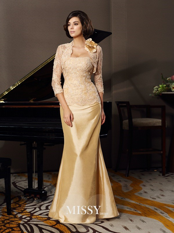 Trumpet/Mermaid Sweetheart Sleeveless Floor-Length Taffeta Lace Mother of the Bride Gowns