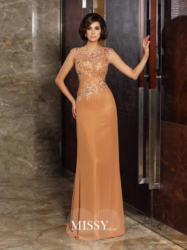 Sheath/Column Sleeveless Scoop Chiffon Beading Applique Sweep/Brush Train Mother of the Bride Gowns