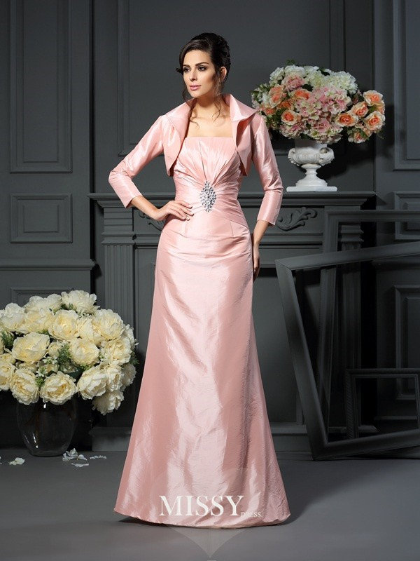 A-Line/Princess Strapless Pleats Sleeveless Floor-Length Taffeta Mother of the Bride Gowns