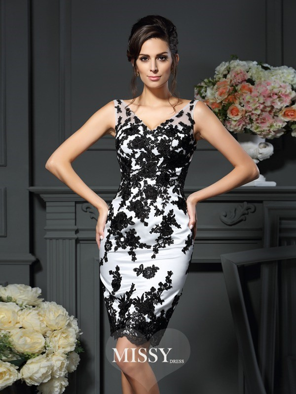 Sheath/Column V-neck Applique Sleeveless Knee-Length Satin Mother of the Bride Gowns