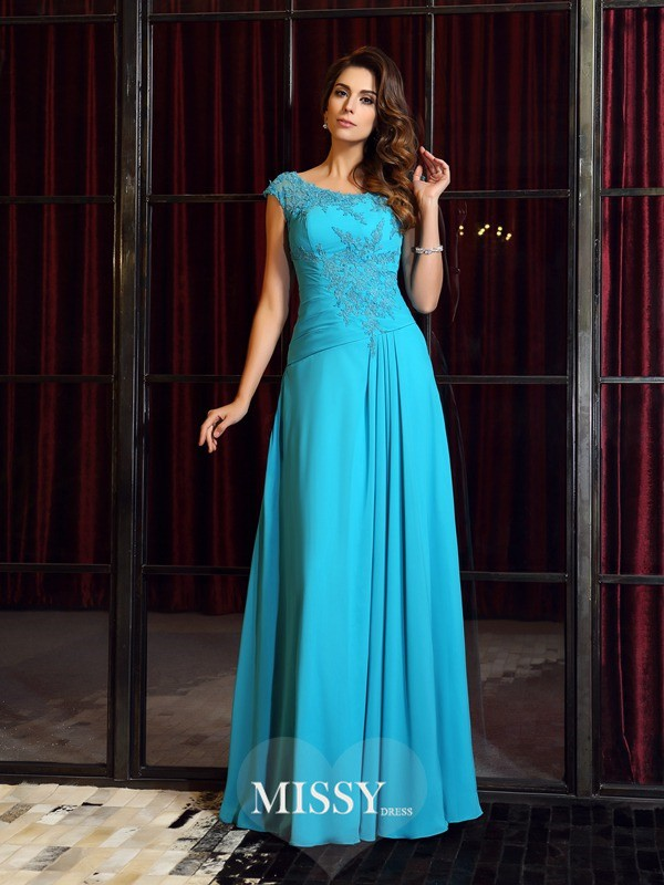 A-Line/Princess Scoop Applique Chiffon Floor-Length Dresses