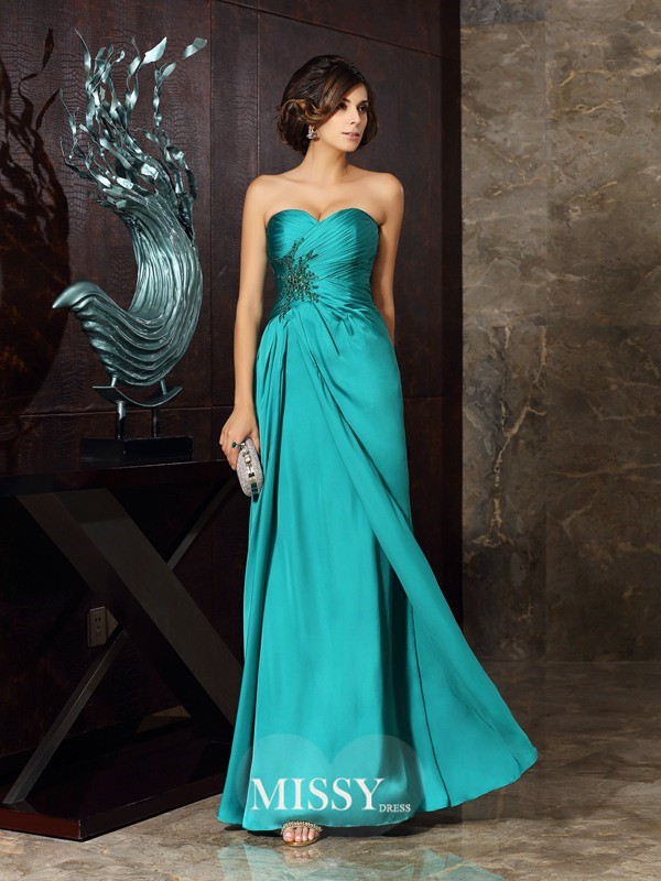 Sheath/Column Sleeveless Chiffon Sweetheart Beading Applique Floor-Length Mother of the Bride Gowns