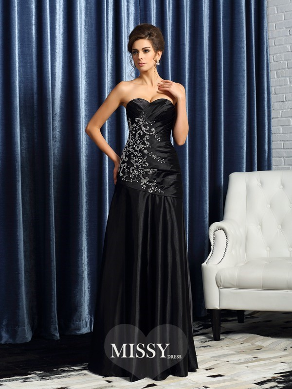 A-Line/Princess Sweetheart Satin Sleeveless Floor-Length Beading Applique Mother of the Bride Gowns
