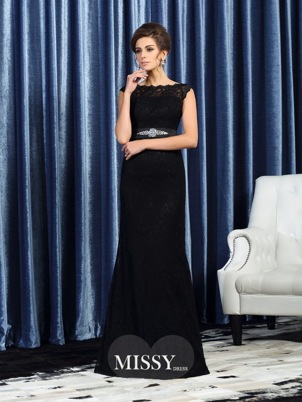 Sheath/Column Sleeveless Bateau Lace Beading Floor-Length Mother of the Bride Gowns